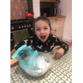 Blubber experiment - it is too cold for Arabella.