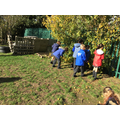 Collecting leaves for our artwork