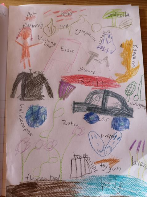 Some children drew their a-z objects