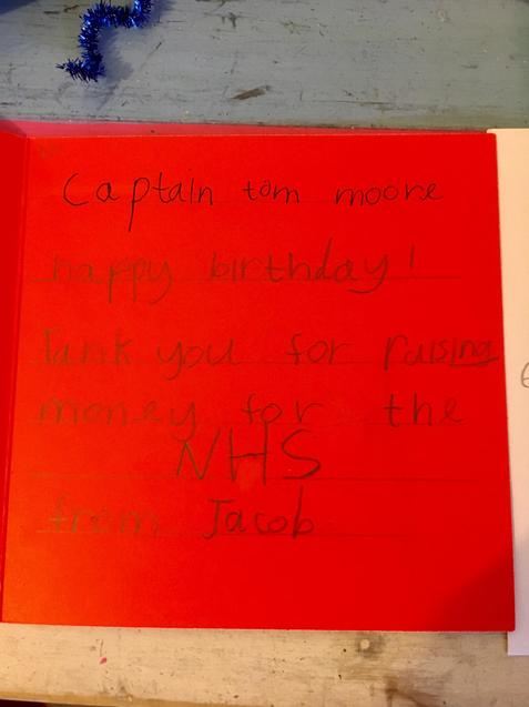 Jacob's card to Captain Tom