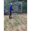 Rolling hula hoops!