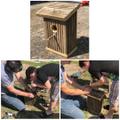 Noah built a birdhouse with his grandad.