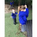 Friends on the tyre swing!