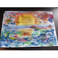 Dabbing paint in the style of Claude Monet