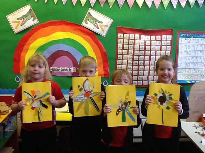 We used fabric to make sunflowers.