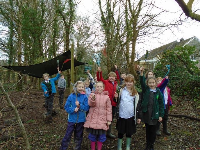 Nature weaving in our awesome Forest School area