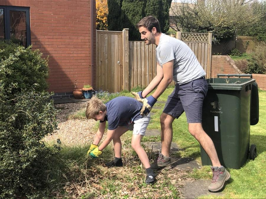 Isaac being 'helped' by his dad!