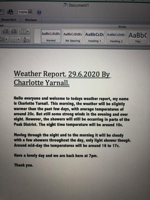 The weather today by Charlotte