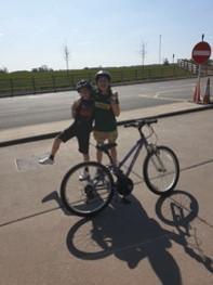 Chloe and Noah on their bike marathon