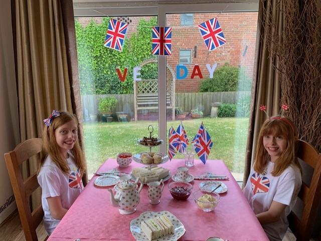 Eleanor and Pippa's vintage V.E. Day Tea.