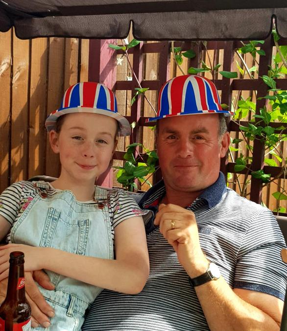 Catherine and her dad, Keith, celebrate V.E. Day.