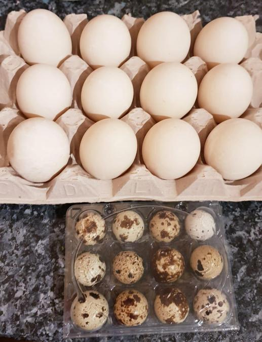 Duck and quail eggs - delicious says Catherine!