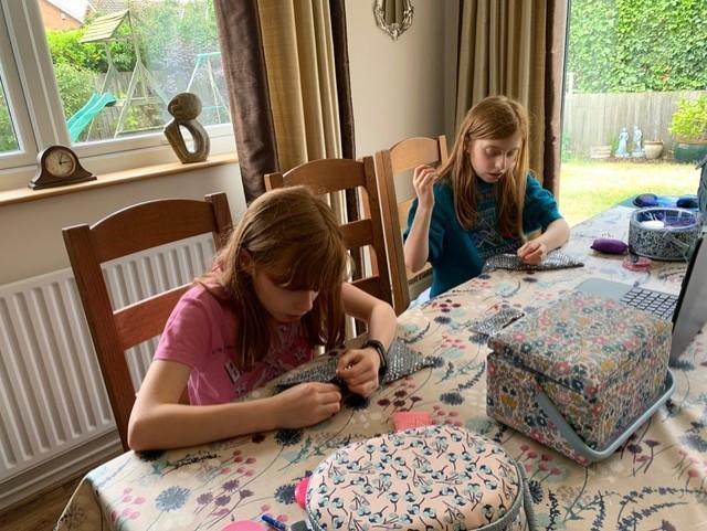 Pippa and Eleanor make masks