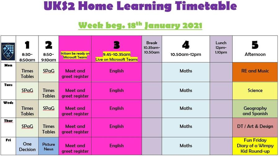 UKS2 Home Learning Timetable