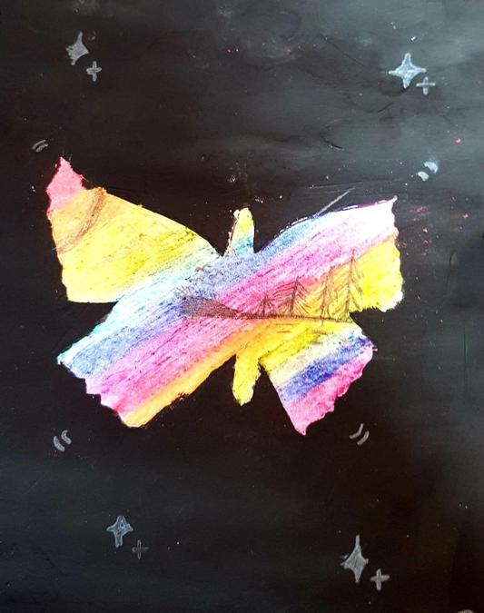 Catherine's rainbow butterfly with cliff scene in.