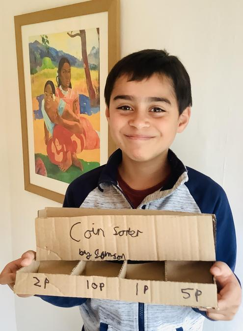 Samson and his home made coin sorter