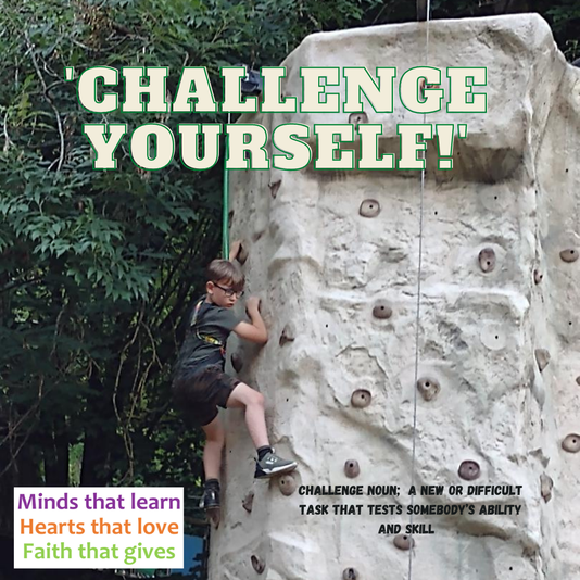 Overcoming a challenge of a fear of heights on the climbing wall! Well done!