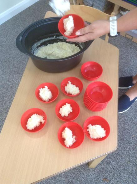 We made rice pudding and were amazed at how the ingredients changed when they were cooked.