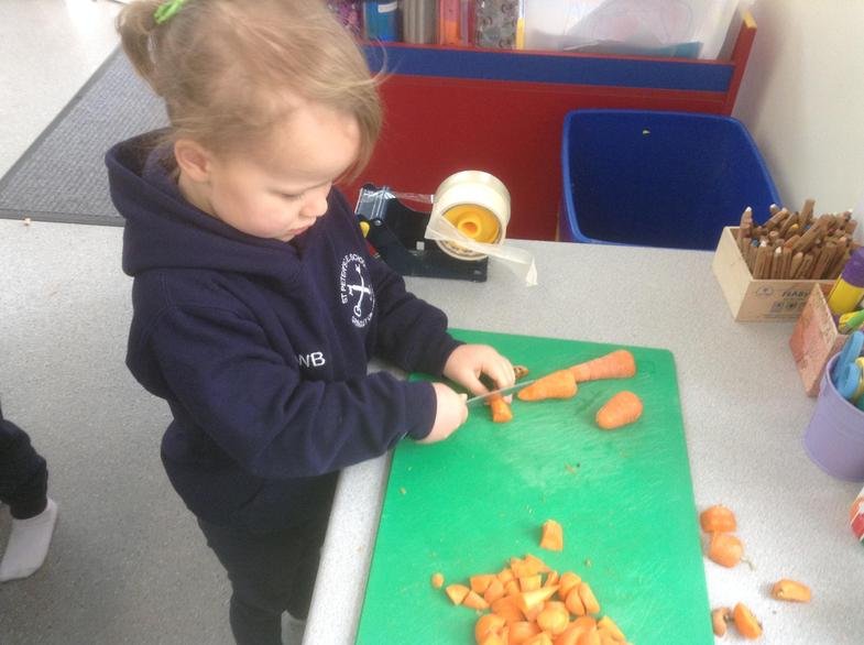 As part of our Harvest celebrations we made soup.