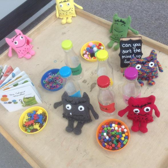 Our fabulous colour monsters were crocheted by Mrs Murten