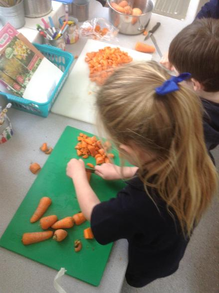 The children were great at cutting the carrots.