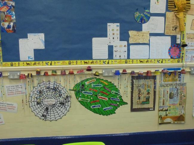 Our wind chimes on display in class.