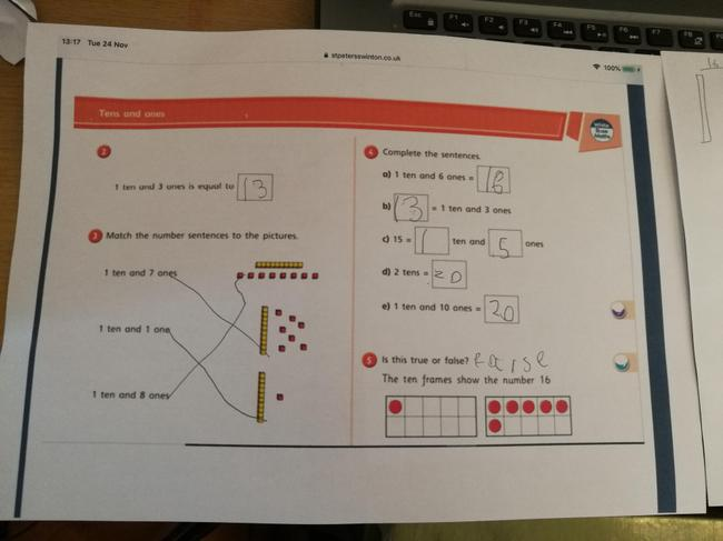 Look at Rocco's Maths challenge. You are so good with tens and ones :)
