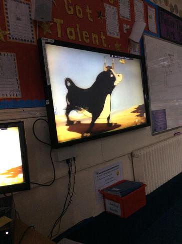 We watched a cartoon called Ferdinand the Bull.