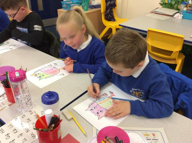 Choosing colours to show different emotions!