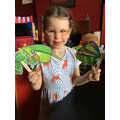 Hungry caterpillar puppets