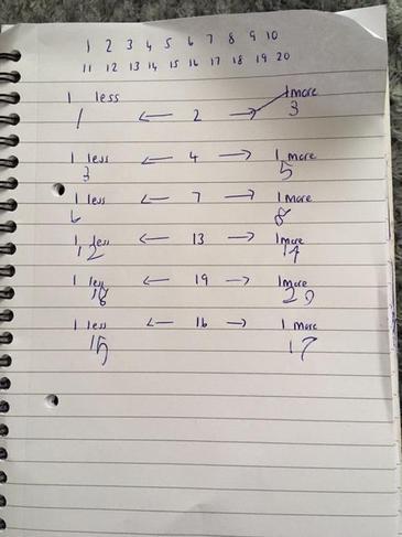 Alfie's Maths work.