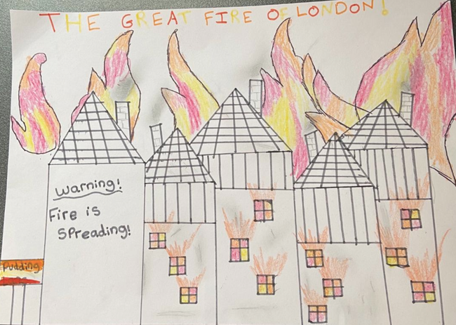 All of the houses on fire!