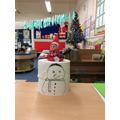 A toilet roll snowman
