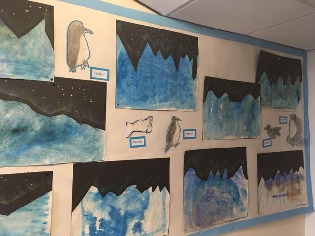 Textured Ice-scape paintings and polar animals