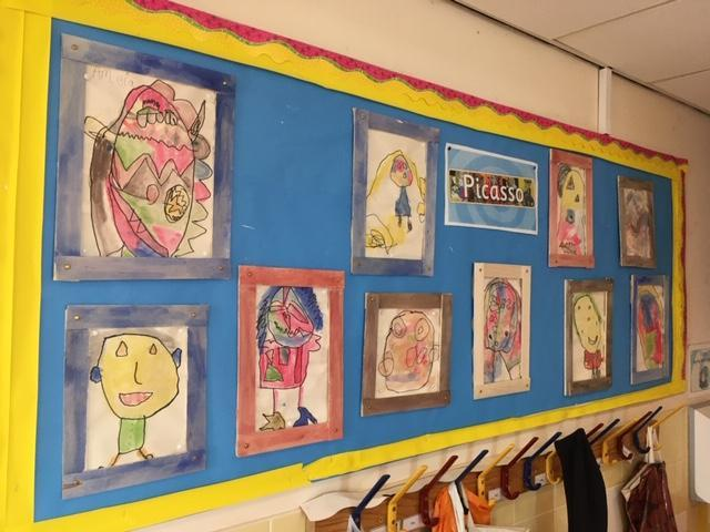 Picasso Portraits framed by the children in balsa.