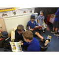 Class 1 and 2 get together for reading in Class 1.