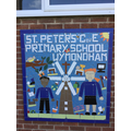 Our fantastic mosaic, hand made by the children!