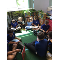 The whole school gets together for shared reading.