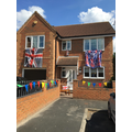 VE Day decorations at Mrs Allen's.