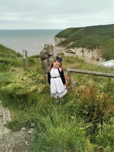 Arabella visiting Flamborough Head.