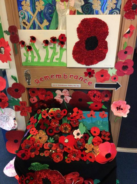 Our poppy trail started at the school entrance....