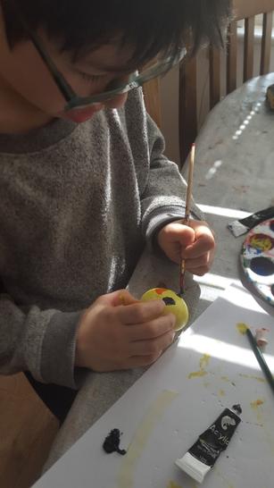 Mattia has been decorating eggs for Easter!