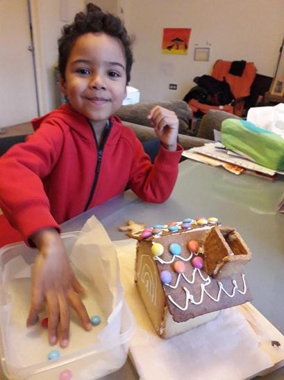 Kai made a biscuit house