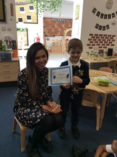 Priam accepted his award for being Safe, kind and fair.