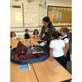 A mixture of bicarbonate soda, vinegar, washing up liquid, water and red dye