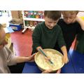 Reception preparing bread for Harvest