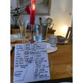 Zoe's menu for her parents