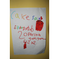 posters made to advertise their cake sale