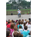 talking to the children to ride safe