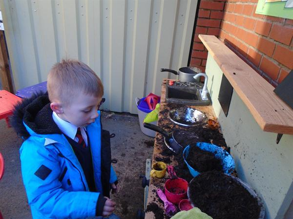 What we've been doing in our mud kitchen!
